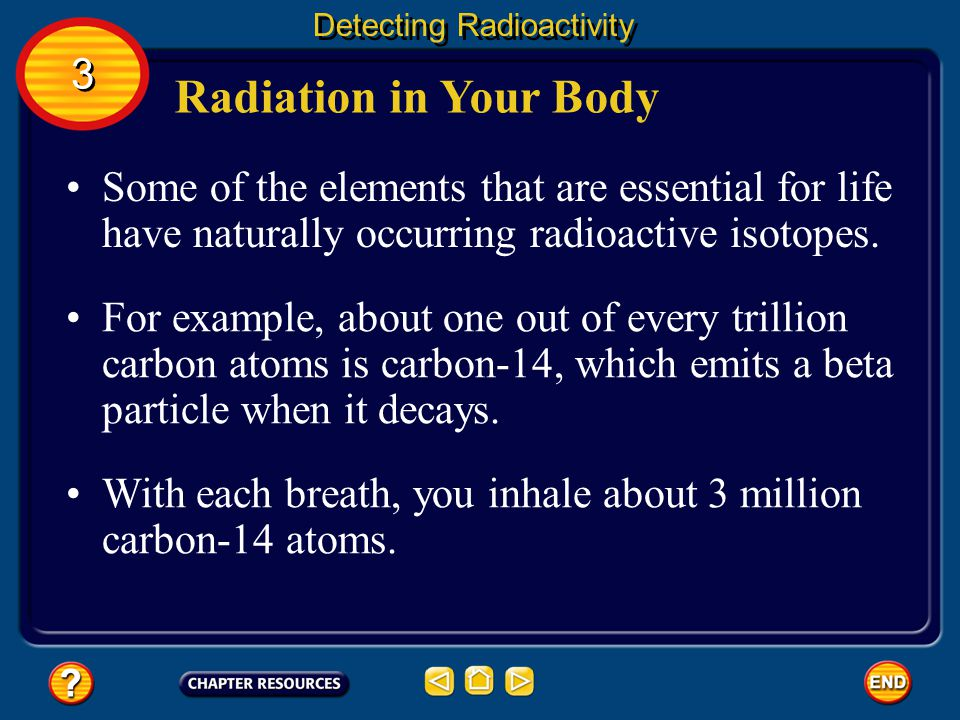 Source of Background Radiation Detecting Radioactivity Some background radiation comes from high- speed nuclei, called cosmic rays, that strike Earth's atmosphere.