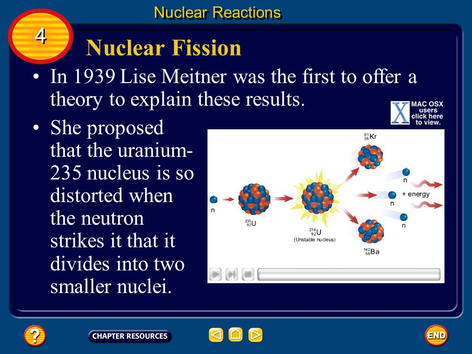 Nuclear Fission Nuclear Reactions 4 4 In 1938, Otto Hahn and Fritz Strassmann found that when a neutron strikes a uranium-235 nucleus, the nucleus splits apart into smaller nuclei.