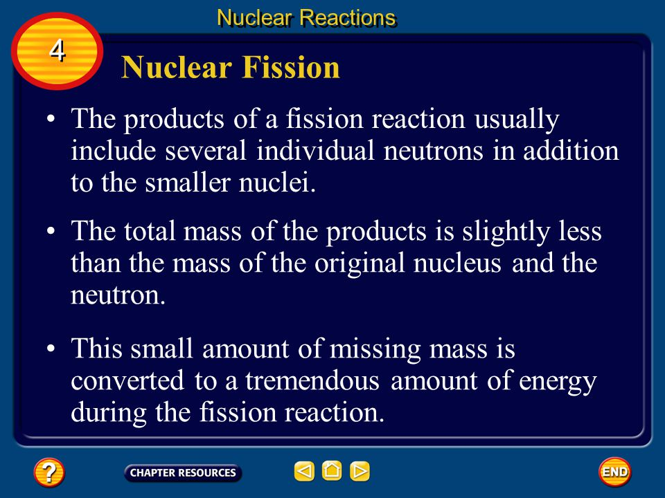 Nuclear Fission Nuclear Reactions The process of splitting a nucleus into several smaller nuclei is nuclear fission.