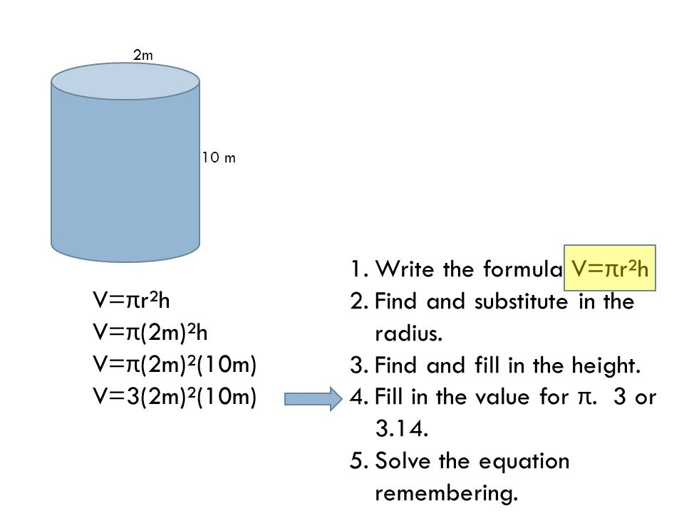 10 m 2m V= π r²h V= π (2m)²h V= π (2m)²(10m) V=3(2m)²(10m) 1.Write the formula V= π r²h 2.Find and substitute in the radius.