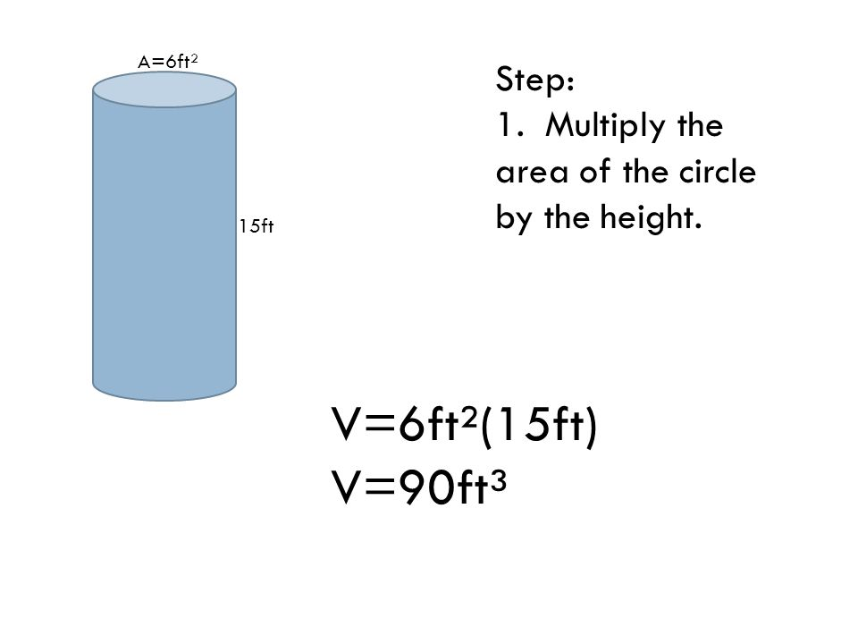 15ft A=6ft² Step: 1. Multiply the area of the circle by the height. V=6ft²(15ft) V=90ft³