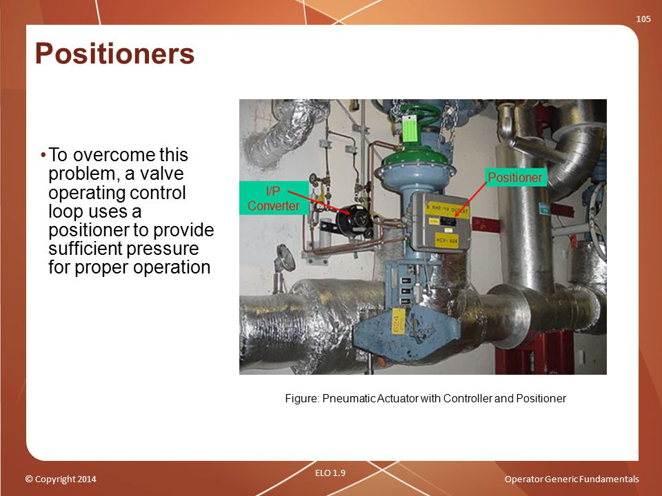 © Copyright 2014Operator Generic Fundamentals Positioners To overcome this problem, a valve operating control loop uses a positioner to provide suffic