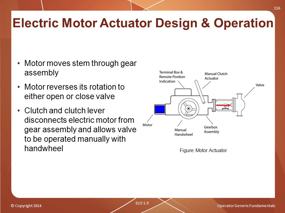 © Copyright 2014Operator Generic Fundamentals Motor moves stem through gear assembly Motor reverses its rotation to either open or close valve Clutch