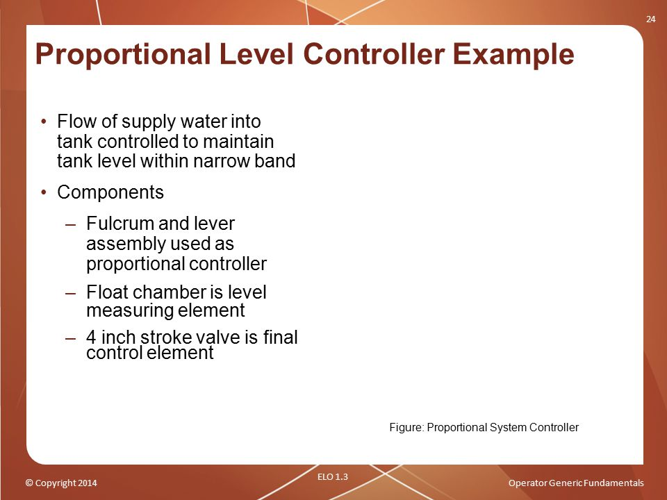 © Copyright 2014Operator Generic Fundamentals Proportional Level Controller Example Flow of supply water into tank controlled to maintain tank level w