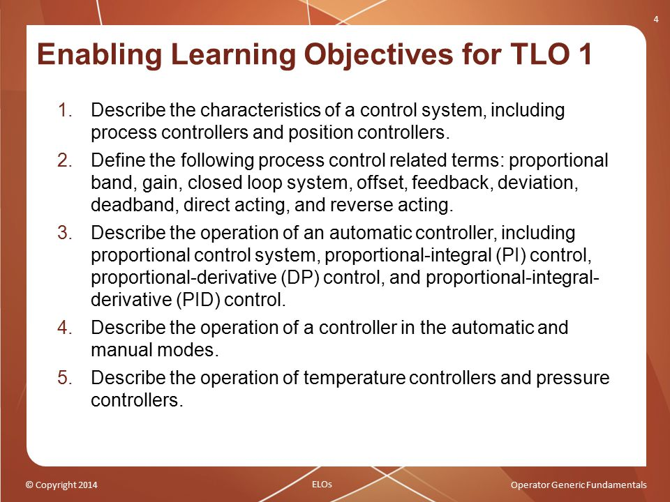 © Copyright 2014Operator Generic Fundamentals Enabling Learning Objectives for TLO 1 4 1.Describe the characteristics of a control system, including p