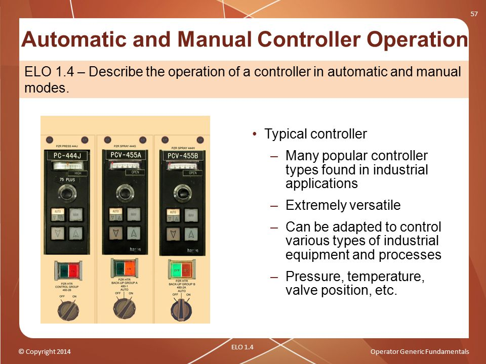 © Copyright 2014Operator Generic Fundamentals Automatic and Manual Controller Operation Typical controller –Many popular controller types found in ind