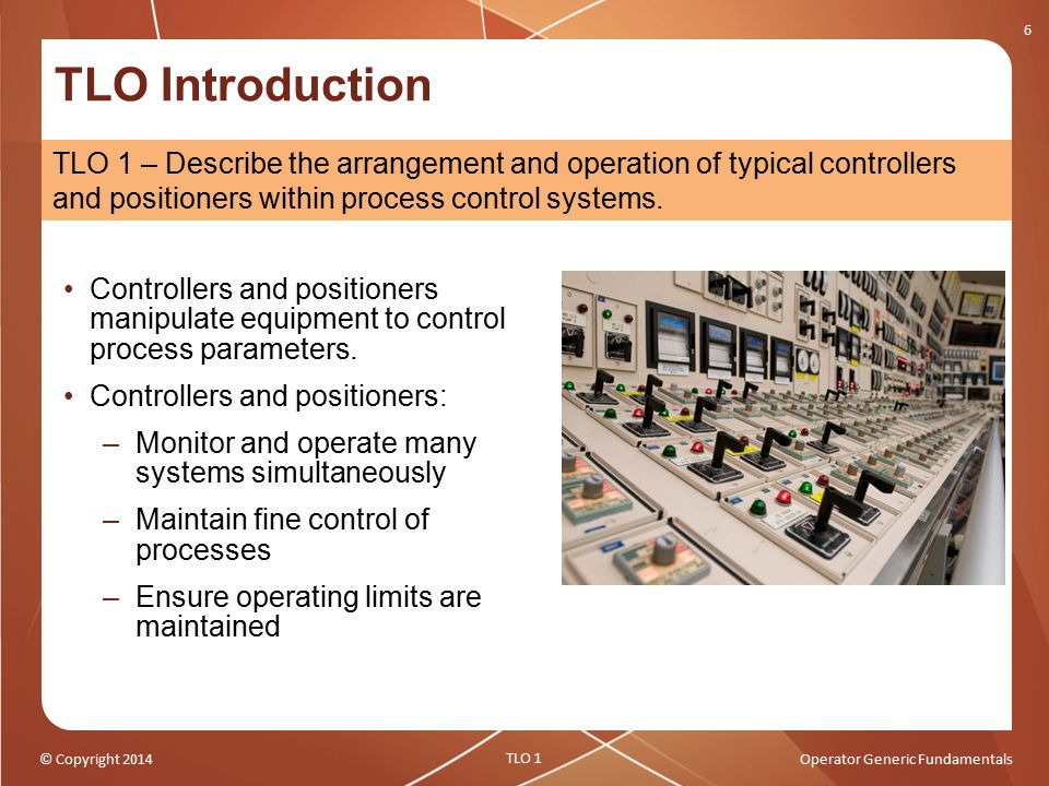 © Copyright 2014Operator Generic Fundamentals TLO Introduction Controllers and positioners manipulate equipment to control process parameters. Control