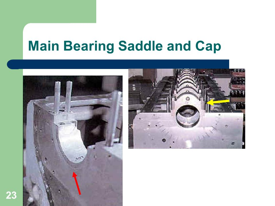 23 Main Bearing Saddle and Cap