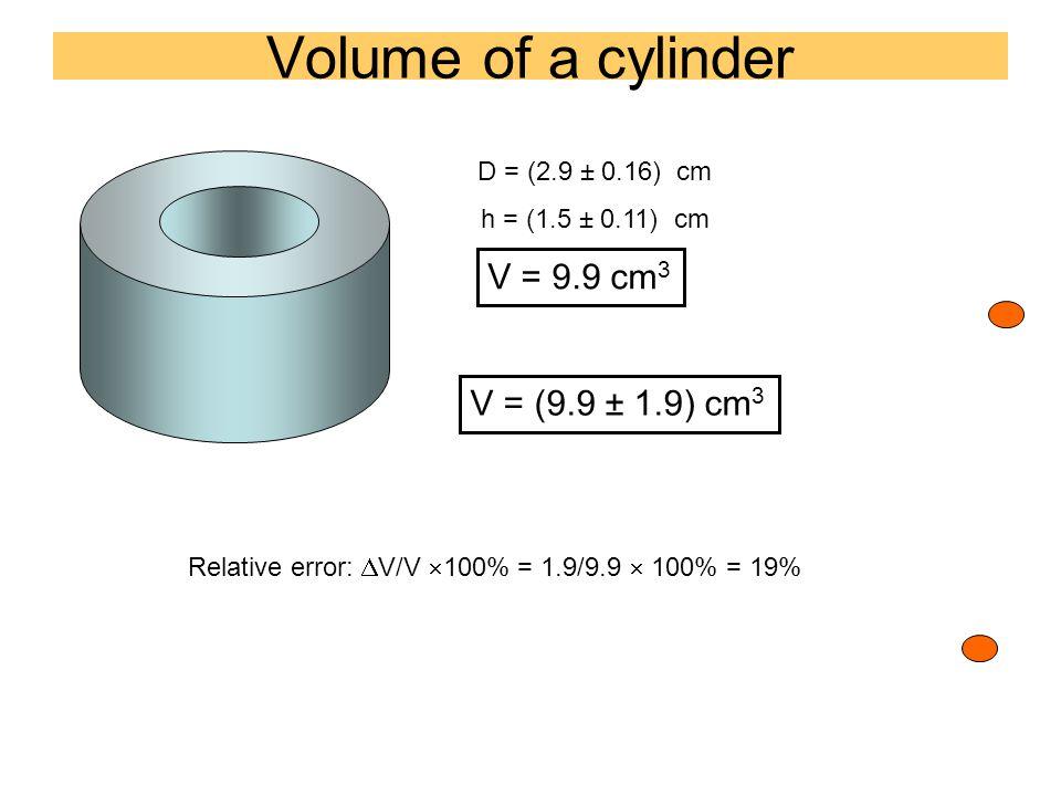 Volume of a cylinder D = (2.9 ± 0.16) cm h = (1.5 ± 0.11) cm V = 9.9 cm 3 V = (9.9 ± 1.9) cm 3 Relative error:  V/V  100% = 1.9/9.9  100% = 19%