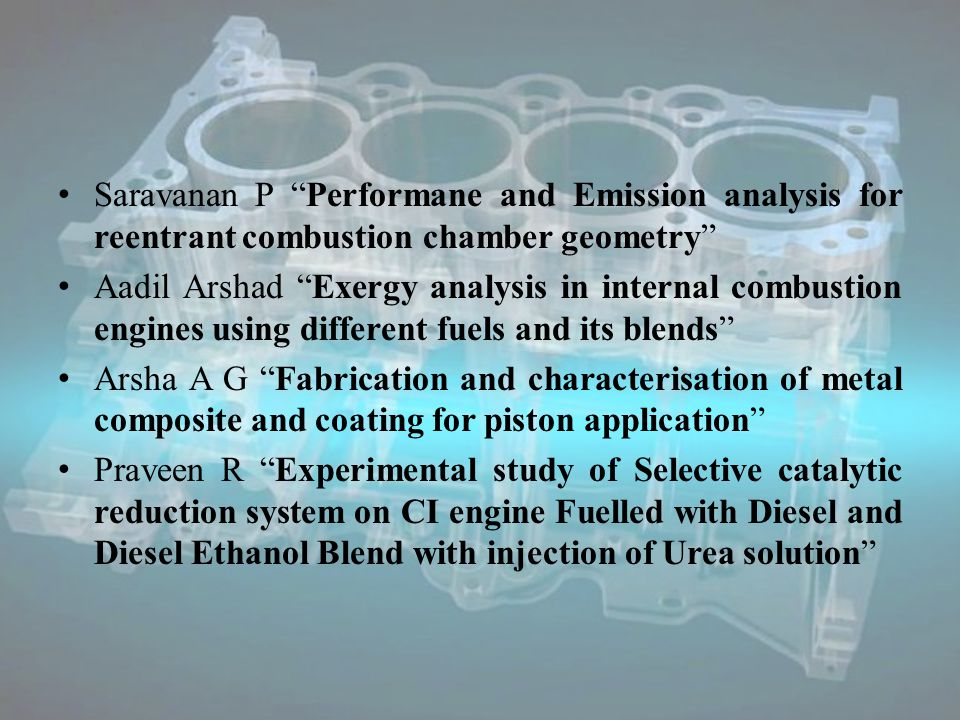 Ilongo T Effect Effect of Compression ratio on Diesel fuelled homogeneous charge compression ignition engine – An Experimental Investigation Mailainathan M Performance and Emission characteristics of Direct Injection diesel engine using preheating air with the help of exhaust gas Jayakar Spray characteristics of diesel and biodiesel using dimensionless analysis Ayyappan Latent heat thermal energy storage system for using various heat transfer fluids