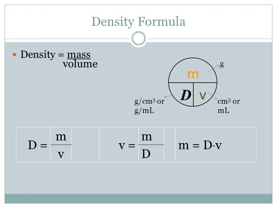 Density Formula Density = mass volume D = m v = m m = D  v v D m D v g cm 3 or mL g/cm 3 or g/mL