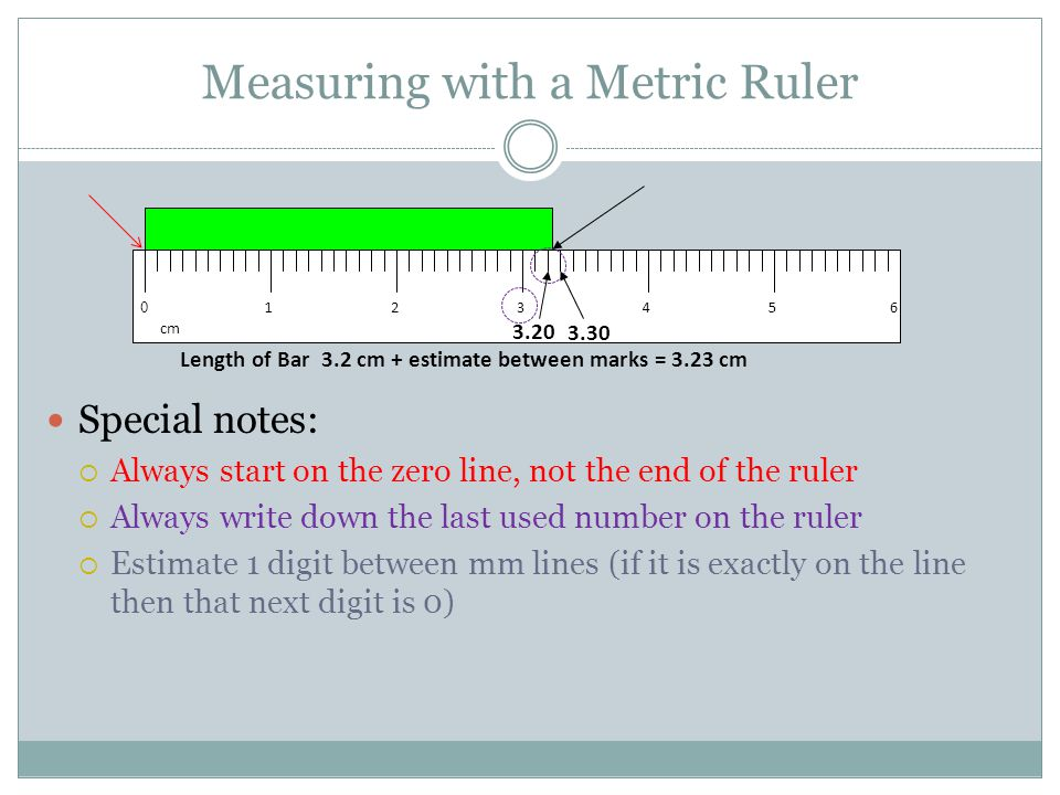 Measuring with a Metric Ruler Special notes:  Always start on the zero line, not the end of the ruler  Always write down the last used number on the