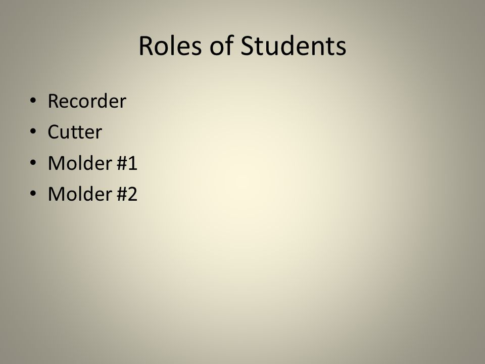 Roles of Students Recorder Cutter Molder #1 Molder #2