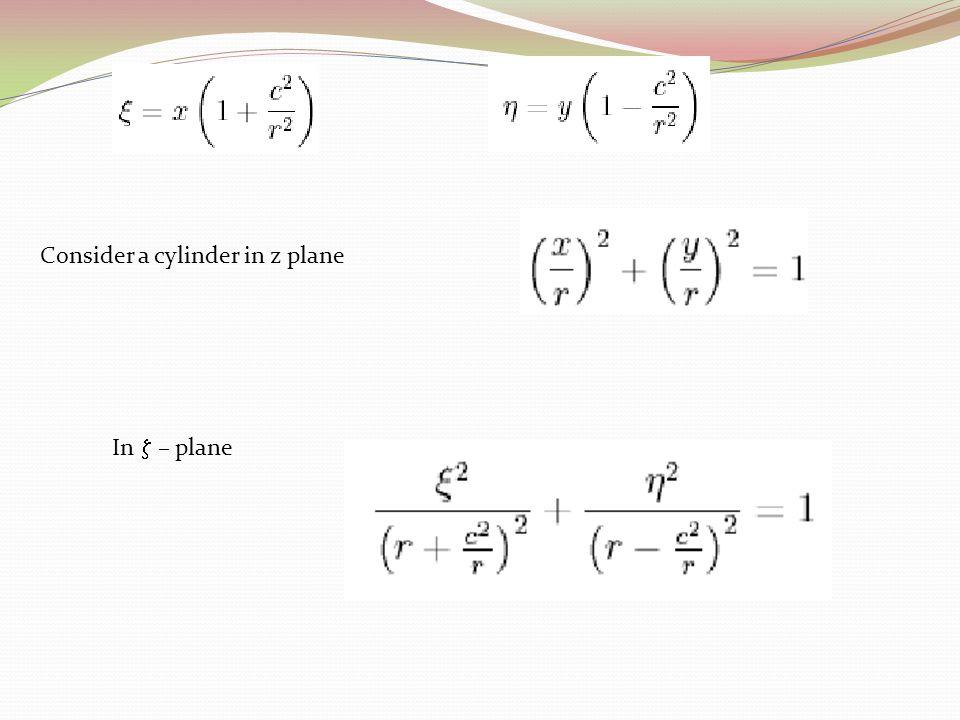 Consider a cylinder in z plane In  – plane
