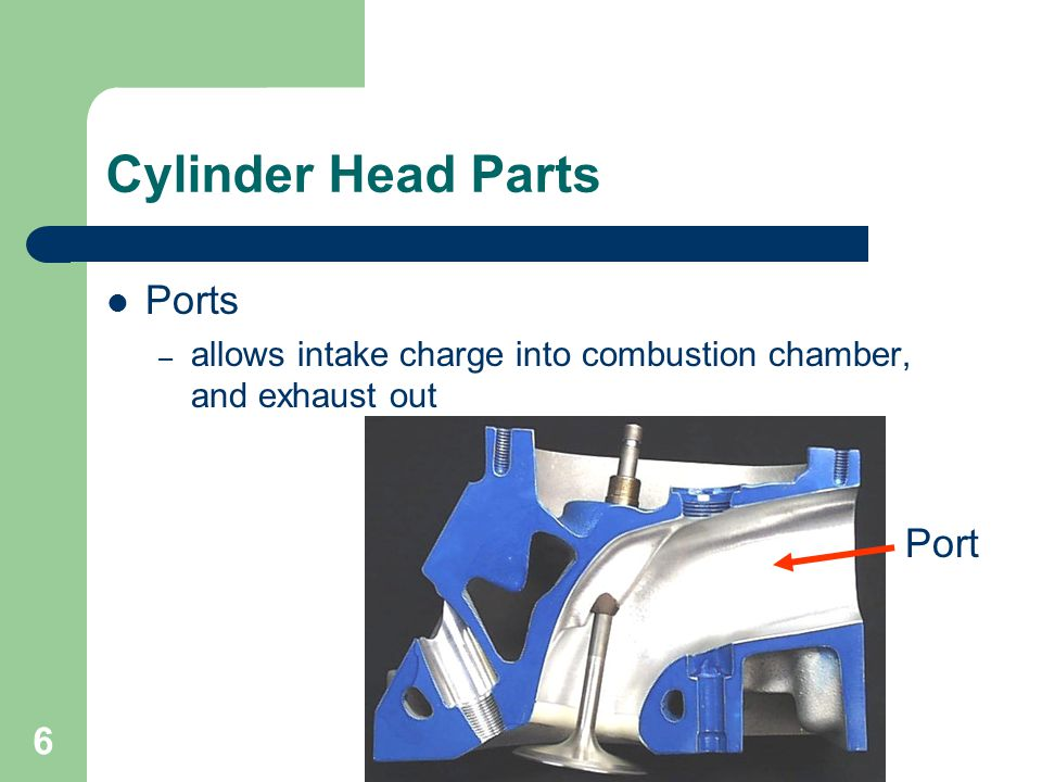 6 Cylinder Head Parts Ports – allows intake charge into combustion chamber, and exhaust out Port