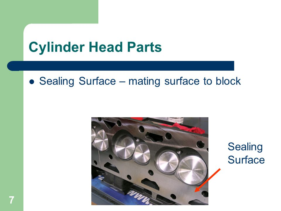 7 Cylinder Head Parts Sealing Surface – mating surface to block Sealing Surface