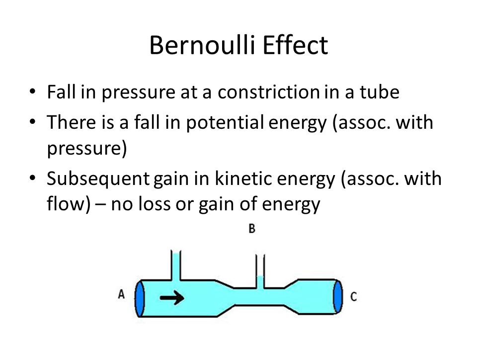 Bernoulli Effect Fall in pressure at a constriction in a tube There is a fall in potential energy (assoc. with pressure) Subsequent gain in kinetic en