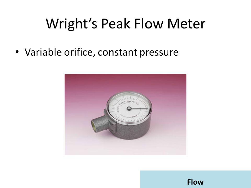 Wright's Peak Flow Meter Variable orifice, constant pressure
