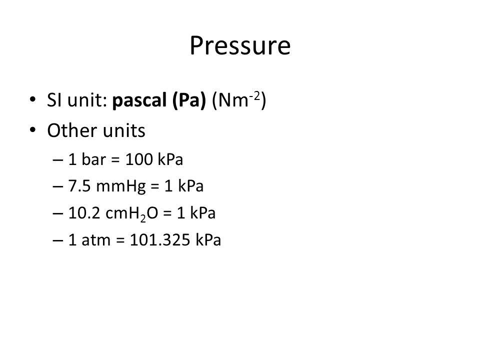 Pressure SI unit: pascal (Pa) (Nm -2 ) Other units – 1 bar = 100 kPa – 7.5 mmHg = 1 kPa – 10.2 cmH 2 O = 1 kPa – 1 atm = 101.325 kPa