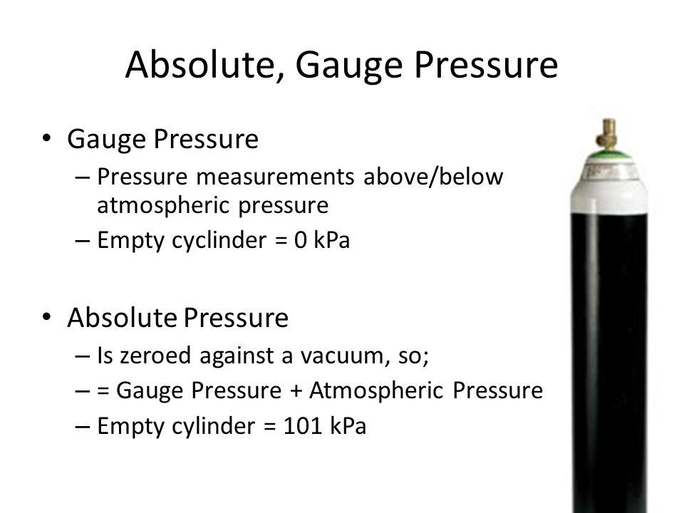 Absolute, Gauge Pressure Gauge Pressure – Pressure measurements above/below atmospheric pressure – Empty cyclinder = 0 kPa Absolute Pressure – Is zeroed against a vacuum, so; – = Gauge Pressure + Atmospheric Pressure – Empty cylinder = 101 kPa