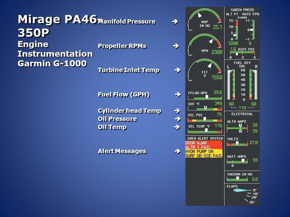 Mirage PA46- 350P Engine Instrumentation Garmin G-1000 Manifold Pressure  Propeller RPMs  Turbine Inlet Temp  Fuel Flow (GPH)  Cylinder head Temp