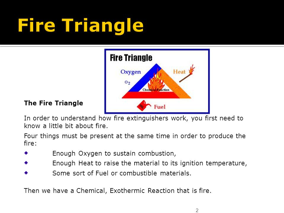 2 The Fire Triangle In order to understand how fire extinguishers work, you first need to know a little bit about fire. Four things must be present at