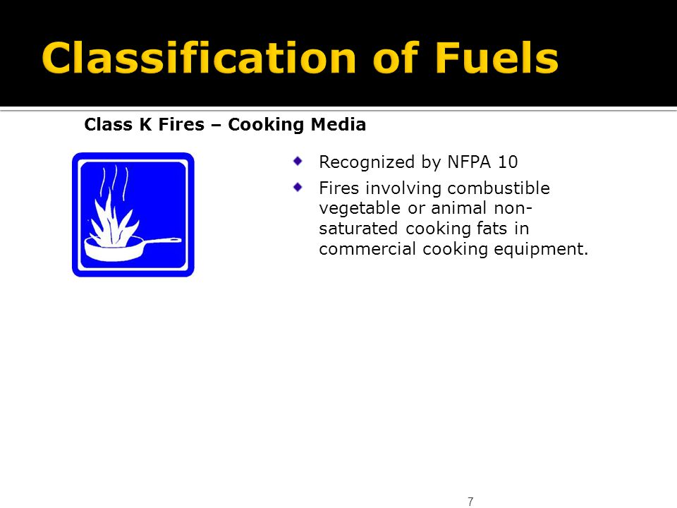 7 Class K Fires – Cooking Media Recognized by NFPA 10 Fires involving combustible vegetable or animal non- saturated cooking fats in commercial cookin