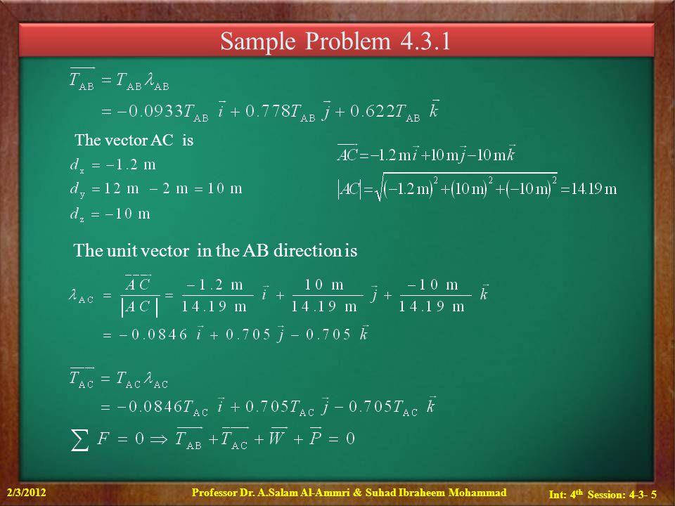 Int: 4 th Session: 4-3- 6 Sample Problem 4.3.1 2/3/2012Professor Dr.