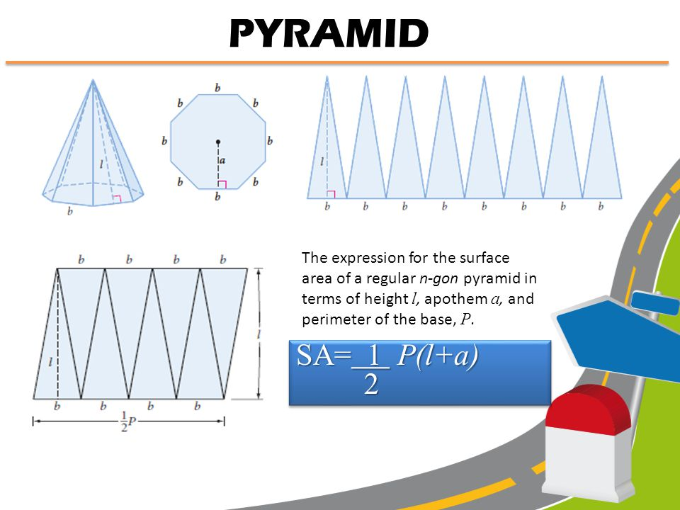 PYRAMID The surface area of a pyramid is the area of the base plus the areas of the triangular faces. What is the area of each lateral face? What is t