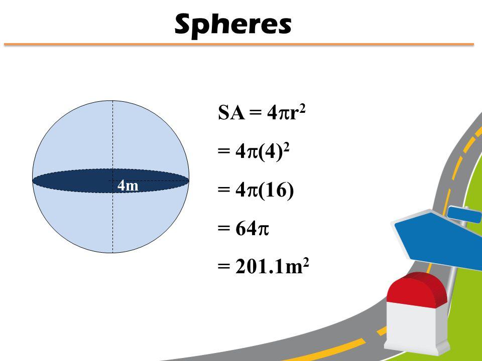 r SA = 4  r 2 Radius of a sphere Spheres