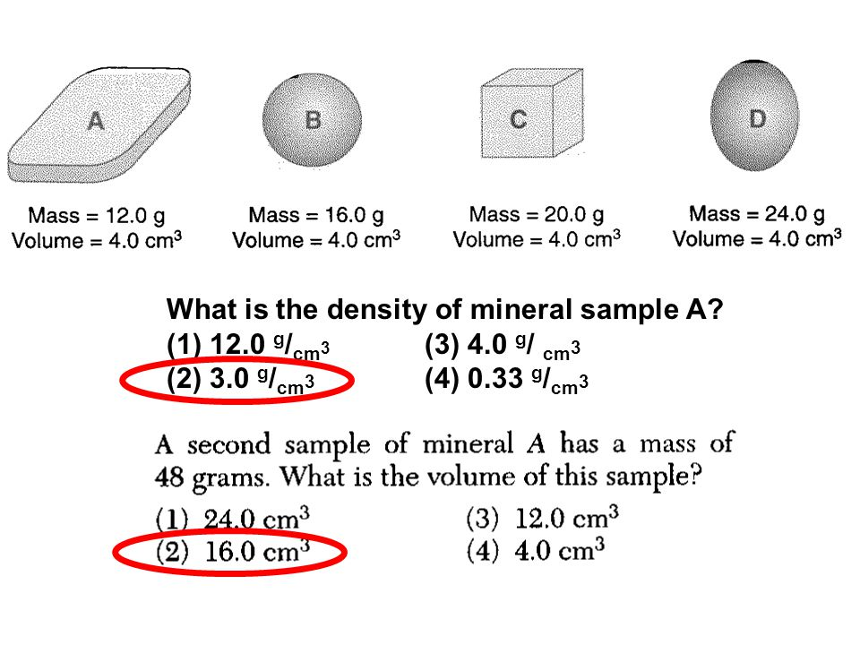 What is the density of mineral sample A.