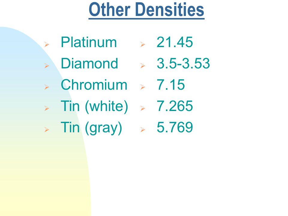 Other Densities  Platinum  Diamond  Chromium  Tin (white)  Tin (gray)  21.45  3.5-3.53  7.15  7.265  5.769