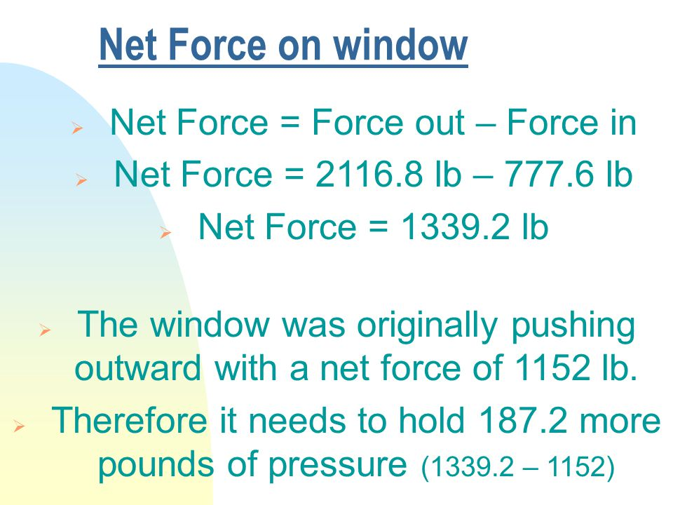 Net Force on window  The window was originally pushing outward with a net force of 1152 lb.