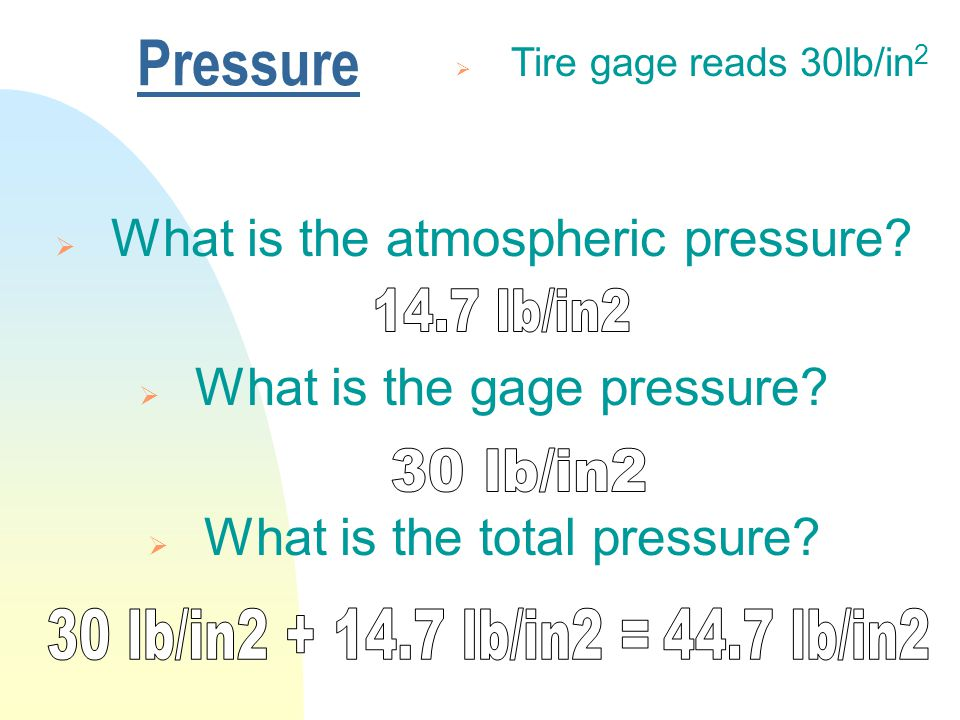 Pressure  Tire gage reads 30lb/in 2  What is the atmospheric pressure.