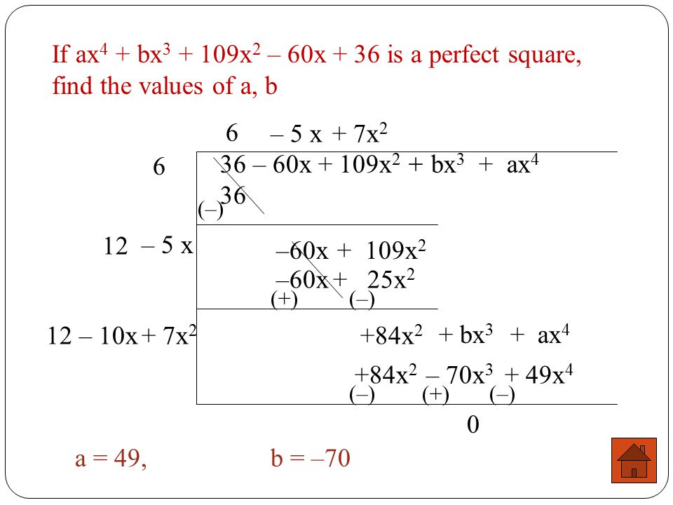If ax 4 – bx 3 + 40x 2 + 24x + 36 is a perfect square, find the values of a, b 36 + 24x + 40x 2 – bx 3 + ax 4 6 6 36 (–) 12 +24x + 40x 2 + 2x +24x + 4