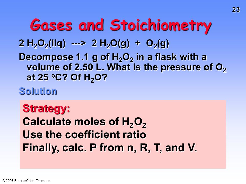 23 © 2006 Brooks/Cole - Thomson Gases and Stoichiometry 2 H 2 O 2 (liq) ---> 2 H 2 O(g) + O 2 (g) Decompose 1.1 g of H 2 O 2 in a flask with a volume