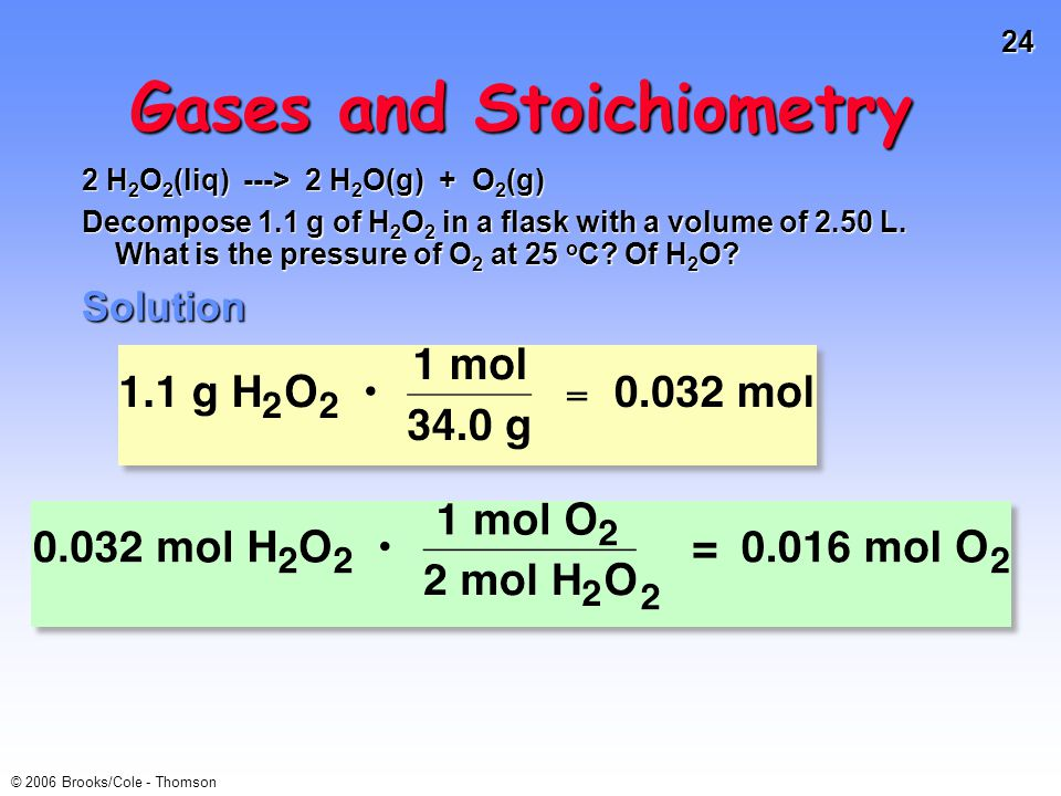 24 © 2006 Brooks/Cole - Thomson Gases and Stoichiometry 2 H 2 O 2 (liq) ---> 2 H 2 O(g) + O 2 (g) Decompose 1.1 g of H 2 O 2 in a flask with a volume