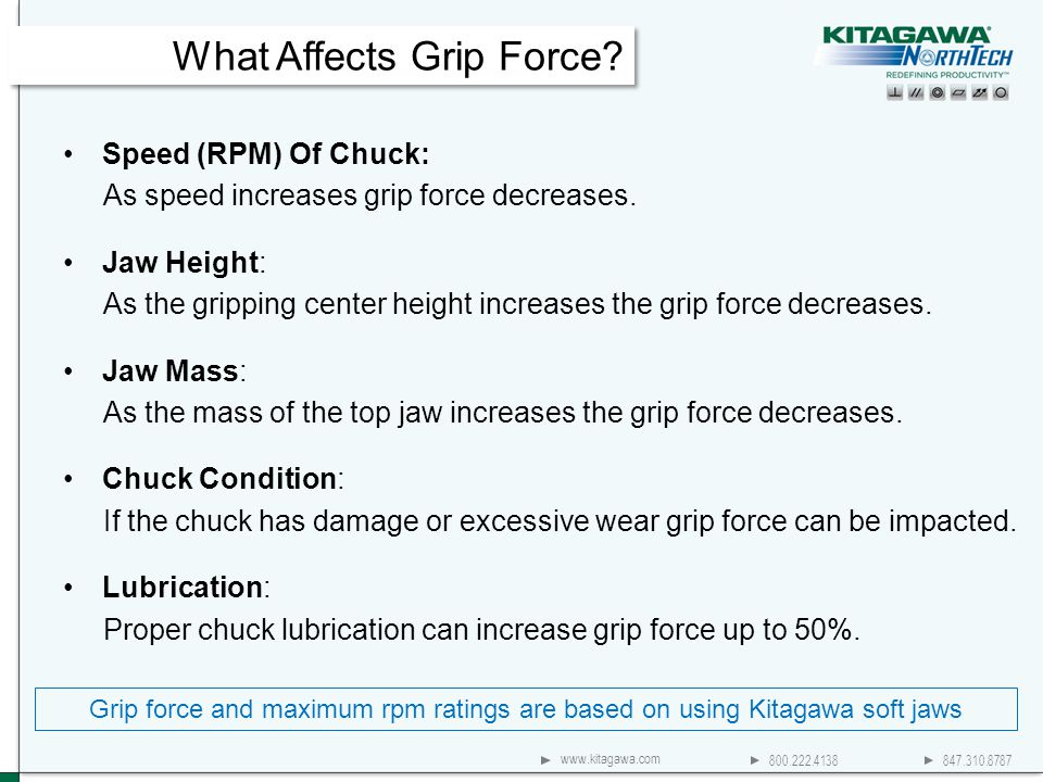 800.222.4138 847.310.8787 www.kitagawa.com Speed (RPM) Of Chuck: As speed increases grip force decreases. Jaw Height: As the gripping center height in