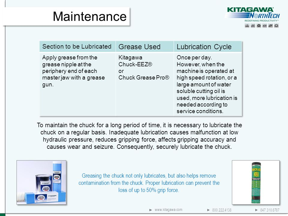 800.222.4138 847.310.8787 www.kitagawa.com Greasing the chuck not only lubricates, but also helps remove contamination from the chuck. Proper lubricat