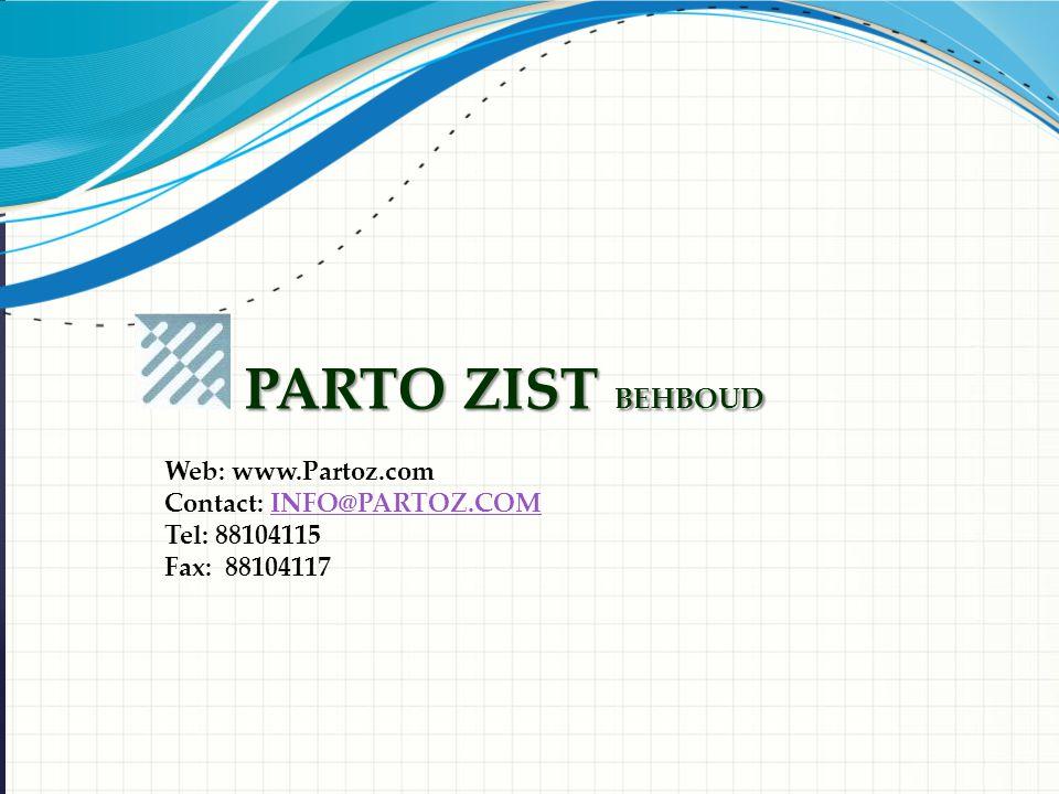 PARTO ZIST BEHBOUD Web: www.Partoz.com Contact: INFO@PARTOZ.COMINFO@PARTOZ.COM Tel: 88104115 Fax: 88104117