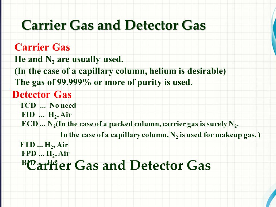 Carrier Gas He and N 2 are usually used.