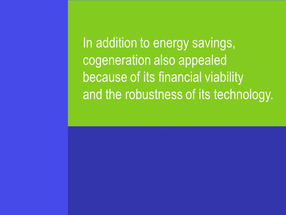 In addition to energy savings, cogeneration also appealed because of its financial viability and the robustness of its technology.