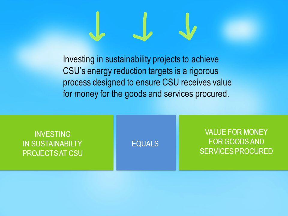 Investing in sustainability projects to achieve CSU's energy reduction targets is a rigorous process designed to ensure CSU receives value for money for the goods and services procured.