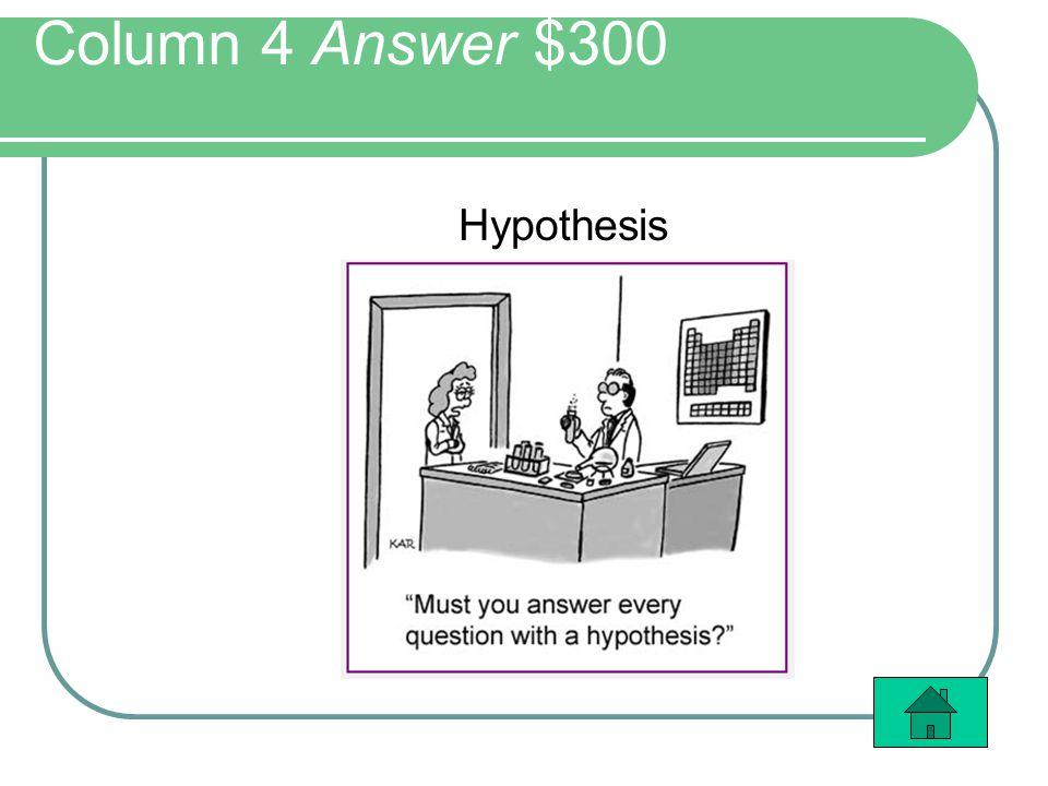 Column 4 Answer $300 Hypothesis