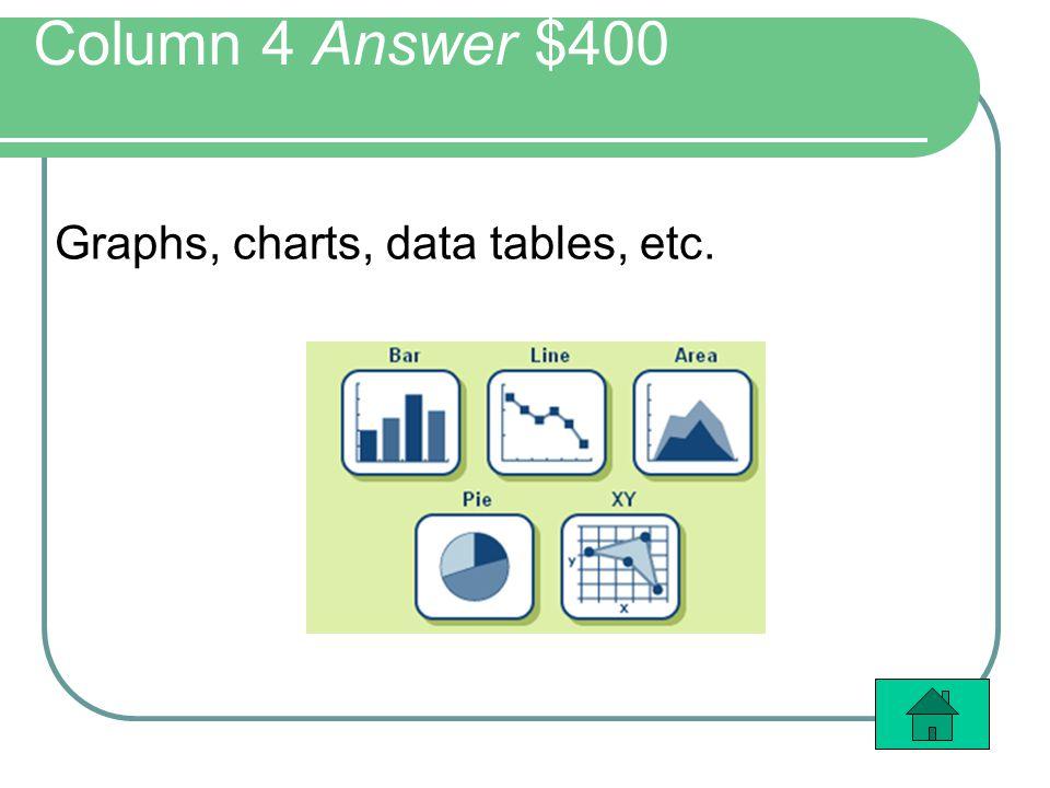 Column 4 Answer $400 Graphs, charts, data tables, etc.