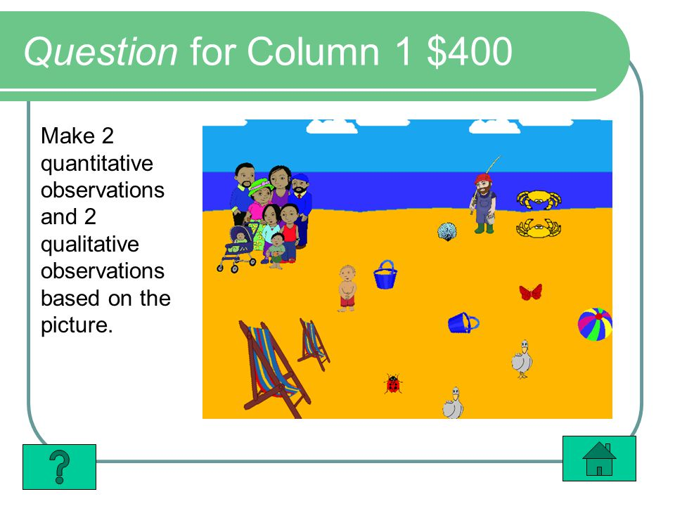 Question for Column 1 $400 Make 2 quantitative observations and 2 qualitative observations based on the picture.