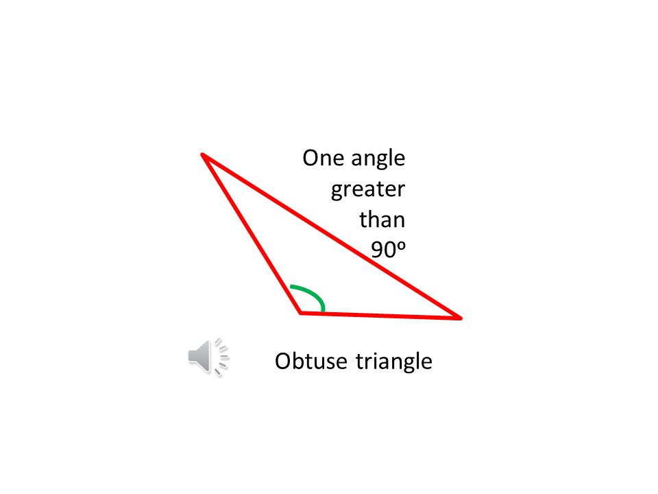 Right triangle (sometimes called a Right angled triangle) The two sides next to the right angle may or may not be equal One angle of 90 o Other angles