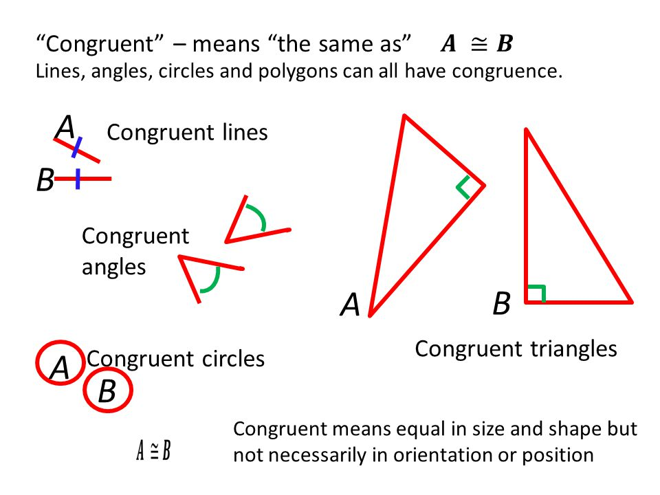 Congruent triangles A B Congruent – means the same as Lines, angles, circles and polygons can all have congruence.