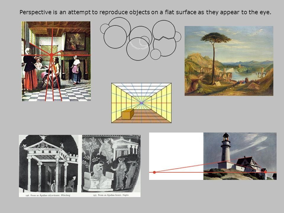 Perspective is an attempt to reproduce objects on a flat surface as they appear to the eye.
