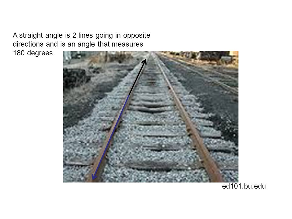 ed101.bu.edu A straight angle is 2 lines going in opposite directions and is an angle that measures 180 degrees.